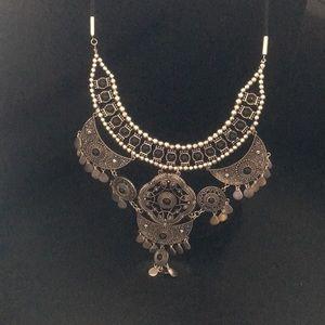 Ornate Byzantine Silver Statement Necklace Cleopat